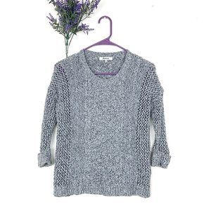Madewell Marled Plaza Pullover Cable Knit Sweater